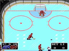 In game image of NHLPA Hockey '93 on the Nintendo SNES.