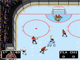 In game image of NHL '94 on the Nintendo SNES.