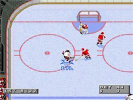 In game image of NHL '96 on the Nintendo SNES.