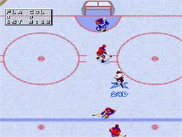 In game image of NHL '98 on the Nintendo SNES.