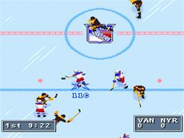 In game image of NHL Hockey '95 on the Nintendo SNES.
