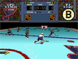 In game image of NHL Stanley Cup on the Nintendo SNES.