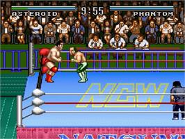 In game image of Natsume Championship Wrestling on the Nintendo SNES.