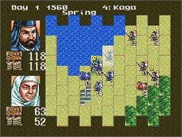 In game image of Nobunaga's Ambition: Lord of Darkness on the Nintendo SNES.