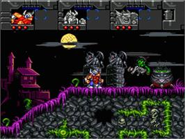 In game image of Norse by Norse West: The Return of the Lost Vikings on the Nintendo SNES.