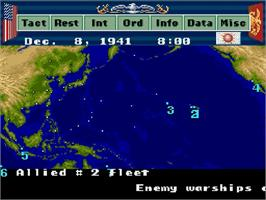 In game image of P.T.O.: Pacific Theater of Operations II on the Nintendo SNES.