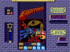In game image of Pac-Attack on the Nintendo SNES.