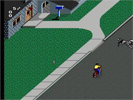 In game image of Paperboy 2 on the Nintendo SNES.