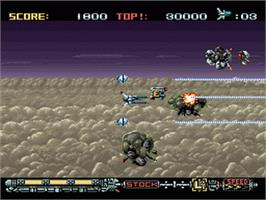 In game image of Phalanx on the Nintendo SNES.