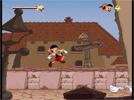 In game image of Pinocchio on the Nintendo SNES.