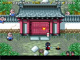 In game image of Pocky & Rocky 2 on the Nintendo SNES.