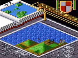 In game image of Populous on the Nintendo SNES.