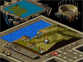 In game image of Populous II: Trials of the Olympian Gods on the Nintendo SNES.