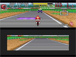 In game image of Power Rangers Zeo: Battle Racers on the Nintendo SNES.