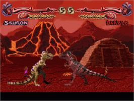 In game image of Primal Rage on the Nintendo SNES.