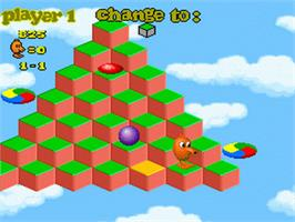In game image of Q*Bert 3 on the Nintendo SNES.