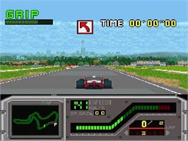 In game image of Redline: F1 Racer on the Nintendo SNES.