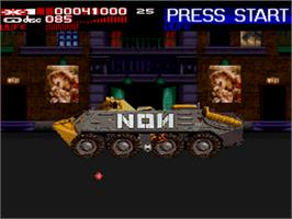 In game image of Revolution X on the Nintendo SNES.