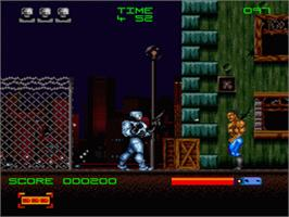 In game image of RoboCop 3 on the Nintendo SNES.