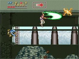 In game image of Run Saber on the Nintendo SNES.