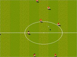 In game image of Sensible Soccer: European Champions on the Nintendo SNES.