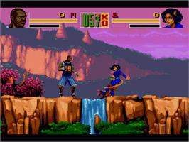 In game image of Shaq Fu on the Nintendo SNES.