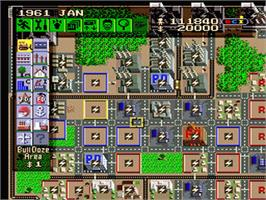 In game image of SimCity on the Nintendo SNES.