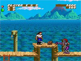 In game image of Sküljagger: Revolt of the Westicans on the Nintendo SNES.