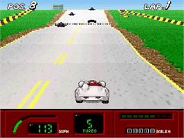 In game image of Speed Racer in My Most Dangerous Adventures on the Nintendo SNES.