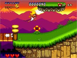 In game image of Speedy Gonzales in Los Gatos Bandidos on the Nintendo SNES.