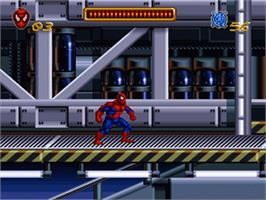In game image of Spider-Man: The Animated Series on the Nintendo SNES.