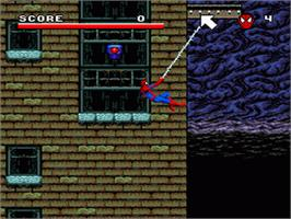 In game image of Spider-Man and the X-Men: Arcade's Revenge on the Nintendo SNES.