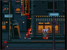 In game image of Spirou on the Nintendo SNES.