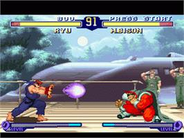 In game image of Street Fighter Alpha 2 on the Nintendo SNES.