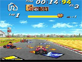 In game image of Street Racer on the Nintendo SNES.