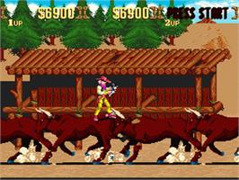 In game image of Sunset Riders on the Nintendo SNES.