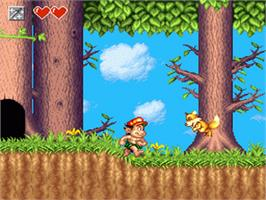 In game image of Super Adventure Island II on the Nintendo SNES.