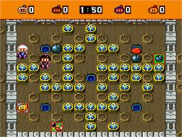 In game image of Super Bomberman on the Nintendo SNES.