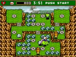 In game image of Super Bomberman 4 on the Nintendo SNES.