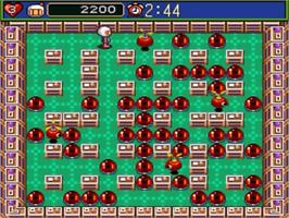 In game image of Super Bomberman 5 on the Nintendo SNES.