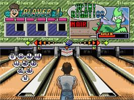 In game image of Super Bowling on the Nintendo SNES.