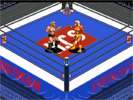 In game image of Super Fire Pro Wrestling Premium X on the Nintendo SNES.