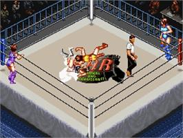 In game image of Super Fire Pro Wrestling Queen's Special on the Nintendo SNES.