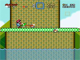 In game image of Super Mario World on the Nintendo SNES.