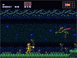 In game image of Super Metroid on the Nintendo SNES.