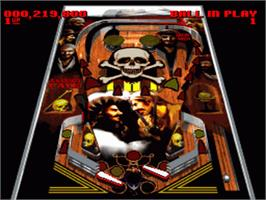 In game image of Super Pinball: Behind the Mask on the Nintendo SNES.