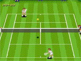 In game image of Super Tennis on the Nintendo SNES.