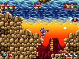 In game image of Super Turrican on the Nintendo SNES.