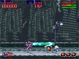 In game image of Super Turrican 2 on the Nintendo SNES.