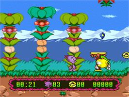 In game image of Super Widget on the Nintendo SNES.